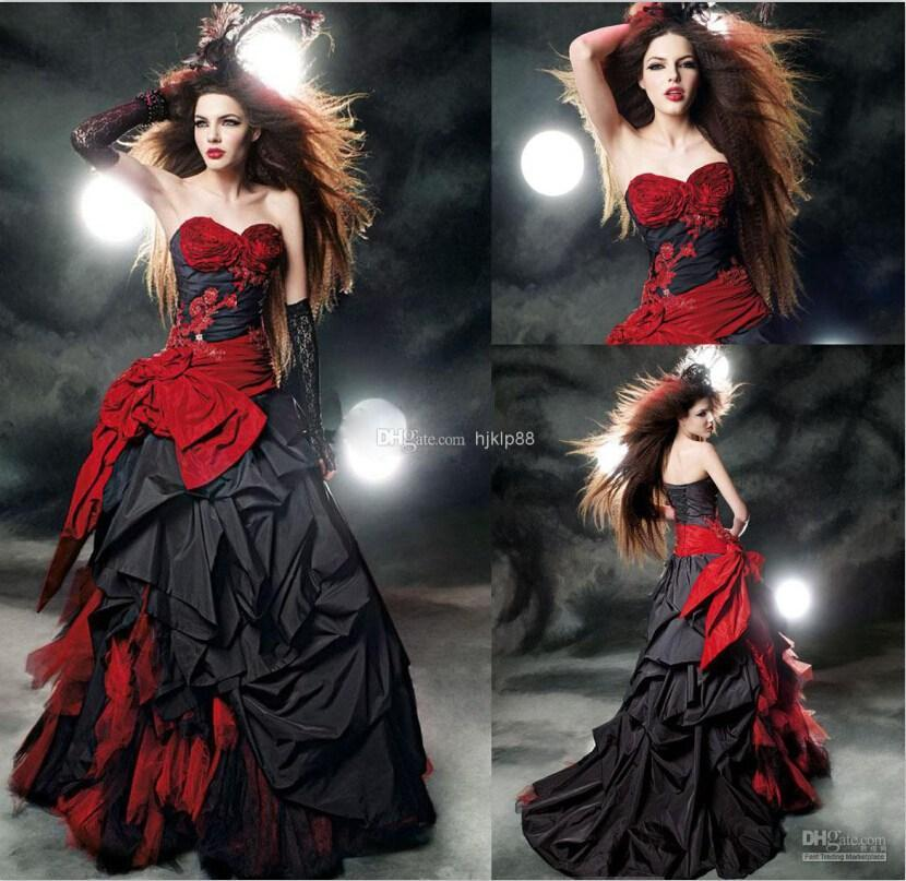 Mariage - Custom Made Red And Black Gothic Wedding Dresses Taffeta Wedding Gown Beads Appliques Bow Sash Ruffles A Line Wedding Dress Online with $124.17/Piece on Hjklp88's Store