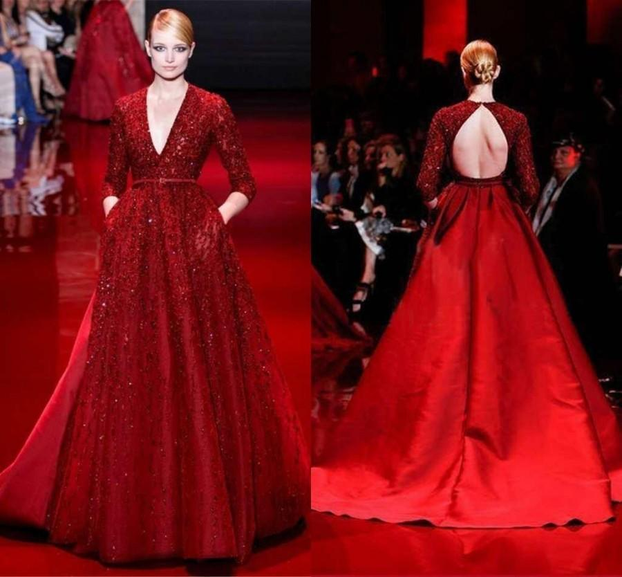 2017 Luxury Zuhair Murad Evening Dresses With Deep V Neck 3 4 Long Sleeves Beaded Satin Plus Size Red Backless Prom Dress Celebrity Party Online