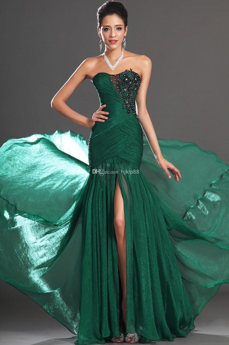 2014 Sexy Sweetheart Appliques Front Slit Floor Length Emerald ...