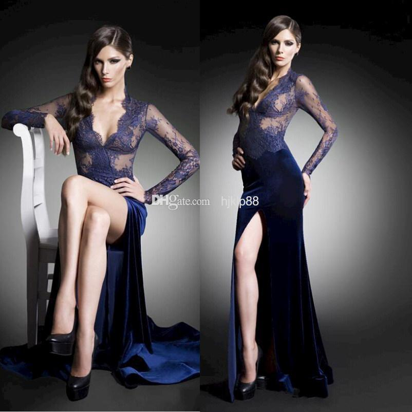 Свадьба - 2015 New Arrival Fashion Mermaid Sexy Side Slit Deep V Neck Long Sleeve Lace See through Floor Length Velvet Evening Prom Dresses Gowns Online with $108.85/Piece on Hjklp88's Store