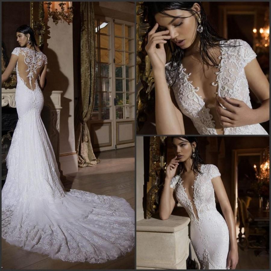 berta 2015 mermaid wedding dresses deep v neck sheer back short sleeves lace bodice applique. Black Bedroom Furniture Sets. Home Design Ideas