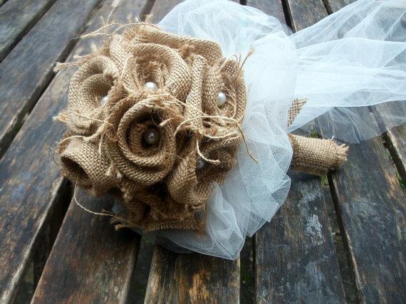 Mariage - Bridal Bouquet, Burlap Bouquet, Rustic Bridal Bouquet, Rustic Wedding Bouquet