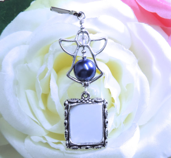 Dark Blue Angel Wedding Bouquet Memory Charm Something Memorial Photo