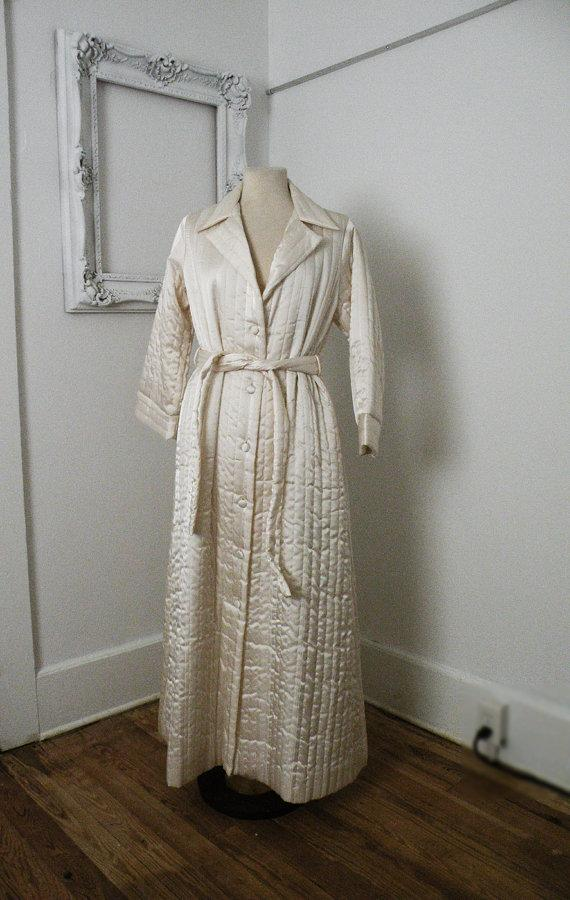 Wedding - Ivory Quilted Vintage Wedding Bridal Robe Women Sz Small