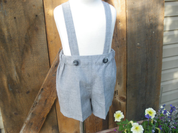 زفاف - Boys gray shorts, boys suspender shorts, ring bearer shorts available to order 12m,18m 2t, 3t 4t, 5t