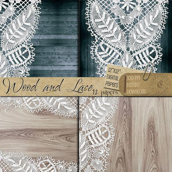 picture regarding Printable Wood Paper known as Rustic Picket And Lace - 12x12 Inch Electronic Printable Papers