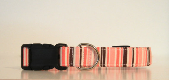 Свадьба - Pink Stripe Dog Collar Wedding Accessories Made to Order