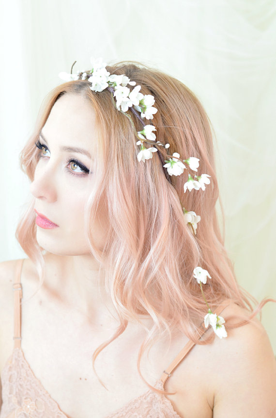White Flower Headband, Bridal Floral Crown, Wedding Headpiece ...