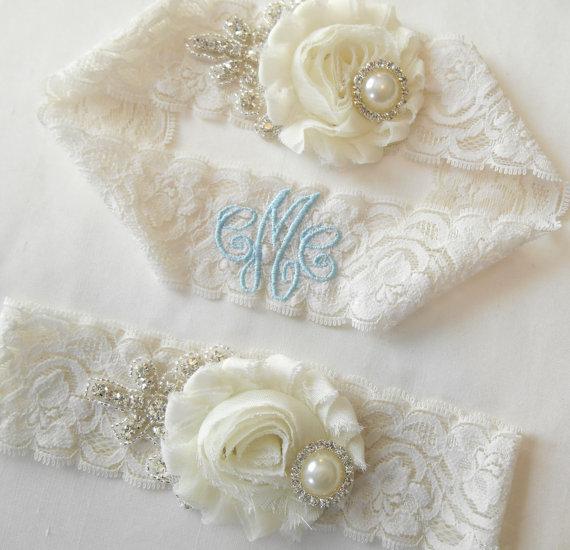 Mariage - Wedding Garter Chiffon Rose MONOGRAMMED OPTION GARTER Set Vintage Inspired Shabby Rose Bridal Garter Set Classic Pearls and  Rhinestones