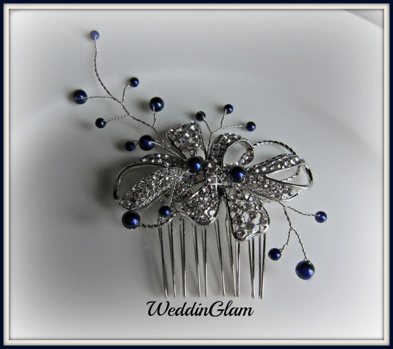 Wedding Hair Accessories Midnight Blue Comb Tiara Navy Pearls Rhinestone Vintage Inspired Mother Of The Bride