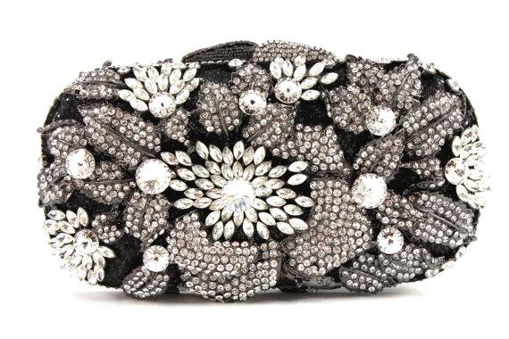 Mariage - Black and Clear Crystal Bridal Clutch, Black Crystal Minaudiere , Black and Clear Crystal Evening Bag, Crystal Wedding Purse