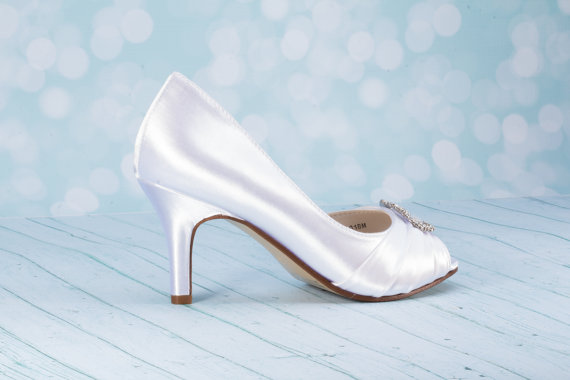 """Mariage - 2 1/2""""  Heel Satin Shoe - Wedding Shoes  - Choose From Over 200 Color Choices - Custom Wedding Shoe - Pumps - Wedding Pump - Dyeable Shoes"""