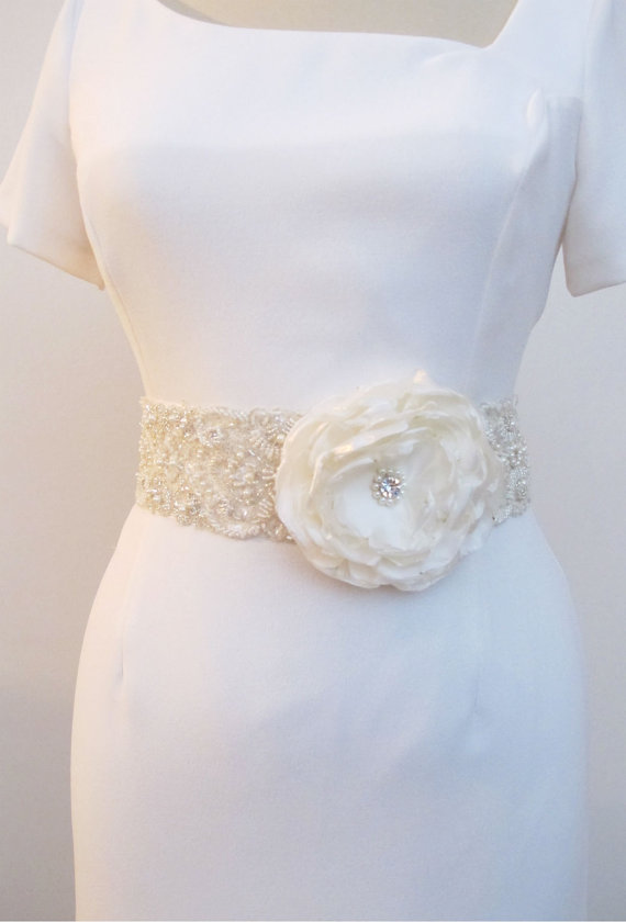 Свадьба - Beaded Bridal Wedding Sash Belt 7 cm with pearls crystal beads ivory with Organza Ready to Ship