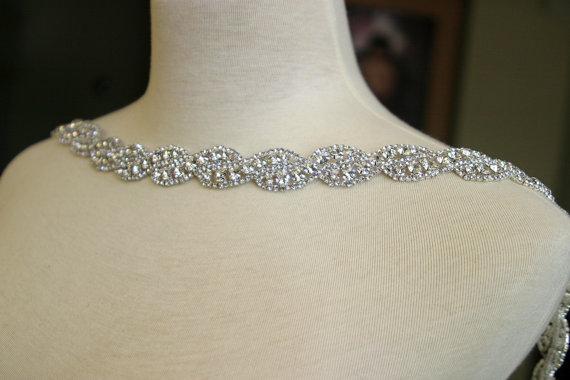 Hochzeit - Authentic Crystal Rhinestone Trim, Rhinestone Applique, Bridal Applique,Wedding Applique, Sash Applique, Bouquet Handle, DIY Wedding, CR-029
