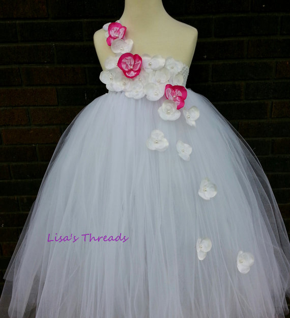 Boda - White & hot pink flower girl dress/ Junior bridesmaids dress/ White Flower Girl/ Flower girl pixie tutu dress/ Rhinestone tulle dress