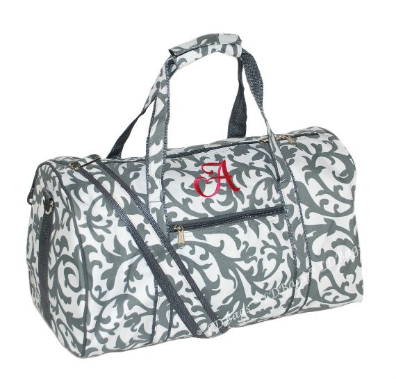 Gray Damask Personalized Duffle Bag Bridesmaid Gift Cheer Overnight By Ld Bags 17 5 With Free Embroidery