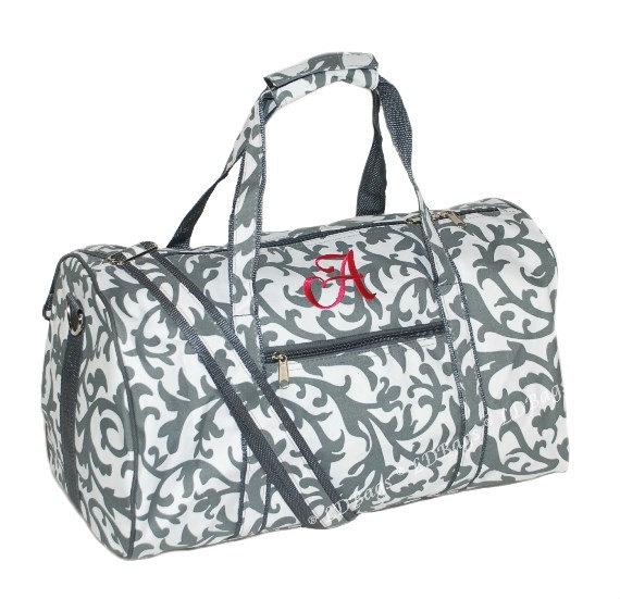 Gray Damask Personalized Duffle Bag Bridesmaid Gift, Cheer Bag, Overnight  Bag by LD Bags 17.5