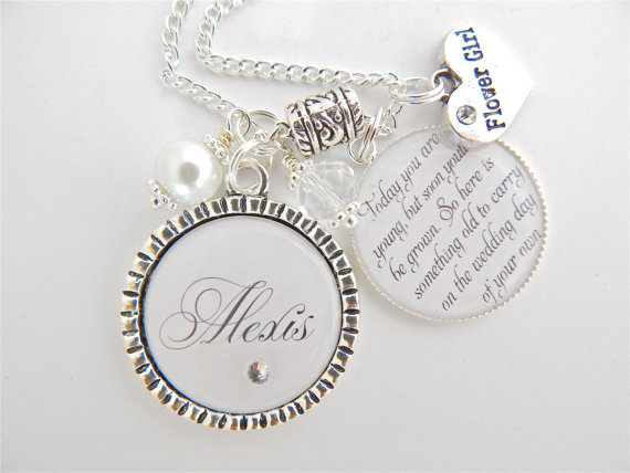FLOWER Girl Gift Children's Jewelry, Personalized Wedding WHITE ...
