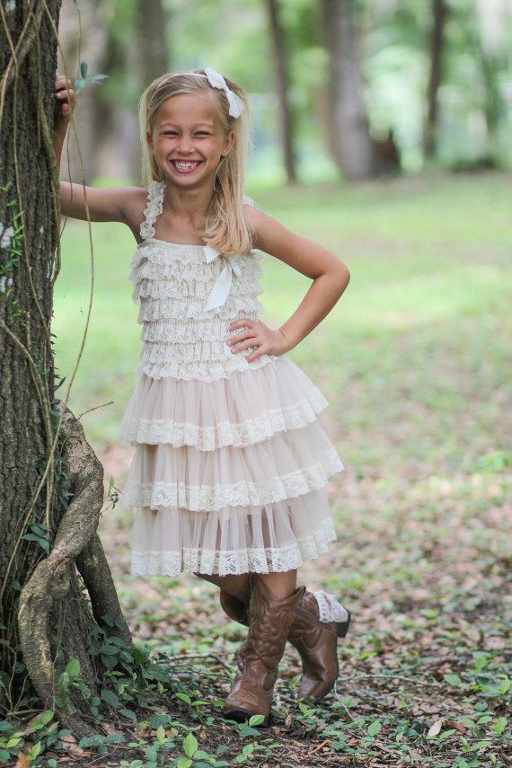 Flower girl dress vintage chic flower girl dress flower for Country wedding flower girl dresses
