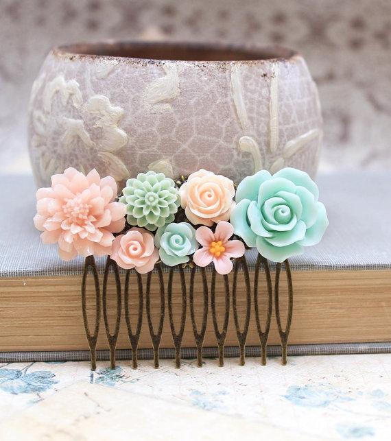 Mariage - Floral Hair Comb Bridal Hair Comb Mint Rose Wedding Accessories Aqua Dahlia Peach Rose Flower Comb Pink Chrysanthemum Pastel Daisy Comb