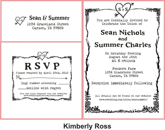 Свадьба - Wedding invitation rubber stamp with typewriter font and simple heart with initials