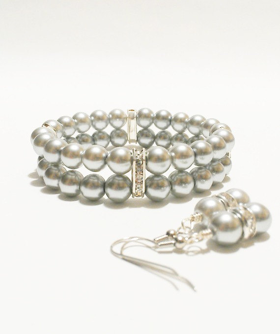 Hochzeit - Wedding Jewelry / Silver Wedding / Bracciale / Pulsera Perla  / Bridesmaid Jewelry / Pearl Earrings / Wedding Jewellery / Bridal Accessories