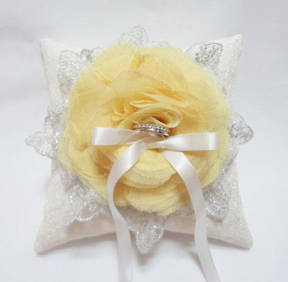 Wedding - Wedding ring pillow - canary yellow ring pillow, lace ring pillow, ring bearer pillow