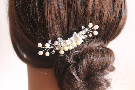 Hochzeit - Bridal Hair Jewelry  Crystal Fresh Water Pearls Comb, Hair Crystal Fascinator, Wedding Hair Accessories