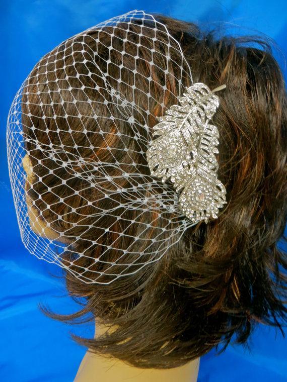 Свадьба - Brides Wedding  Veil, Bridal Rhinestone Veil,  Peacock Crystal Veil,  Blusher Bandeau Veil,  Bridal Bandeau Veil