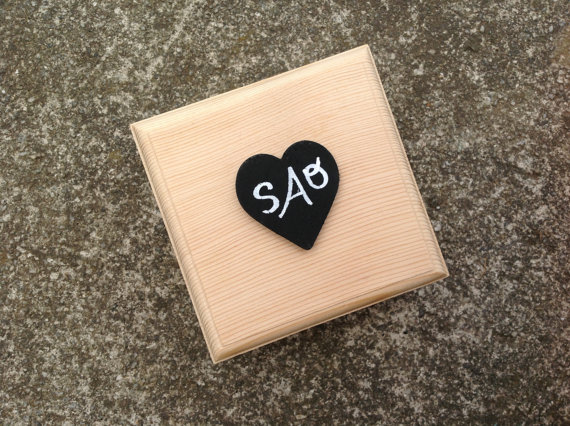 Свадьба - Bridesmaid Gift Box with Personalized Chalkboard Heart for Ring Box or Bridal Party Gift Rustic Wedding