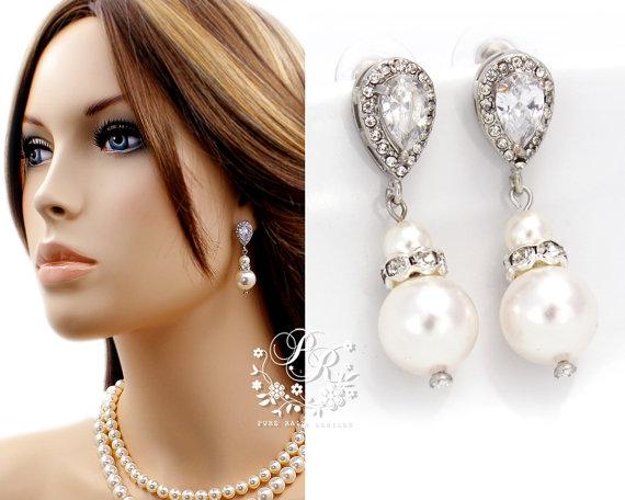 Свадьба - Wedding Earrings Zirconia Swarovski Pearl Earrings Wedding Jewelry Bridal Earrings Bridesmaid Gift Wedding Accessories Zirconia Earrings