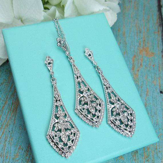 Свадьба - Art Deco Jewelry Set, cubic zirconia jewelry set, art deco wedding necklace set, bridal jewelry, wedding set, Art Deco Wedding Jewelry