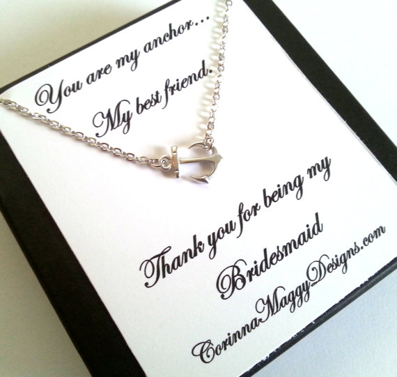 Bridesmaid Gift Sideways Anchor Necklace Wedding Bridal Party Strength Best Friend Maid Of Honor Beach Summer