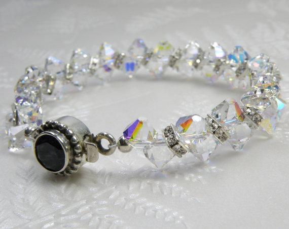 Mariage - Crystal Tennis Bracelet, Swarovski Clear Silver Rhinestone, Bride Accessories, Handmade Bridal Wedding Jewelry, April Birthday