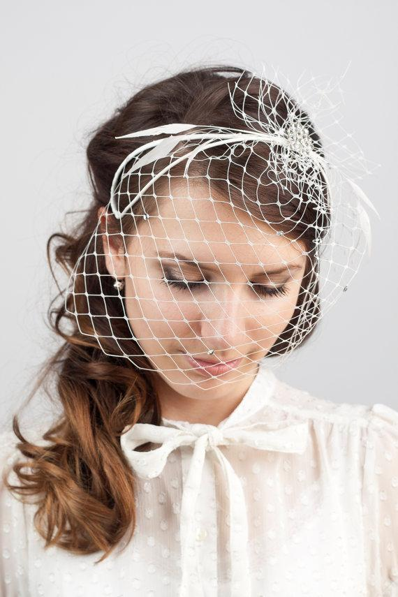 Mariage - Bridal millinery headband veil, wedding headpiece with rhinestone brooch, millinery bridal birdcage