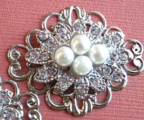 Mariage - Bridal Shoe Clips,Vintage Style, Silver, Pearl, Crystal, Shoe Clips,Wedding Accessories, Rhinestone shoe clips