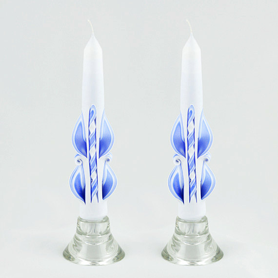 Taper Candles - Blue Candles - White Taper Candles #2235918 - Weddbook
