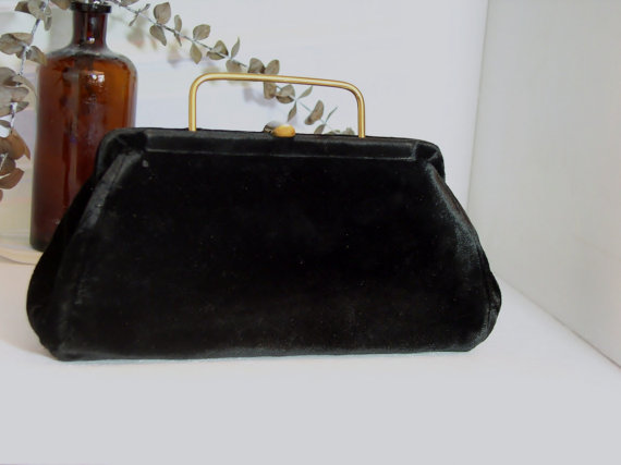 Свадьба - 1950s Velvet Clutch Black Vintage Handbag Formal Purse Small Wedding Bag