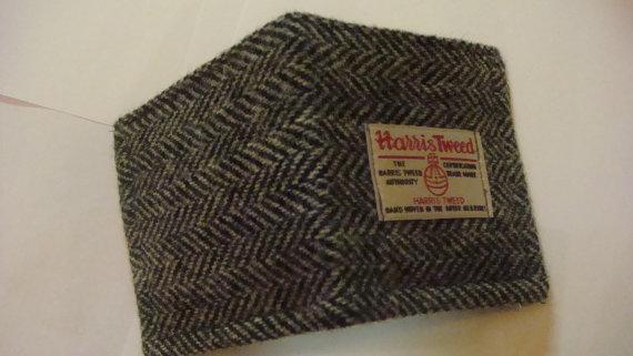 Свадьба - Mans Harris tweed wallet bill fold made in Scotland gift  wool vegetarian plaid Scottish British UK groomsmen gift man gift
