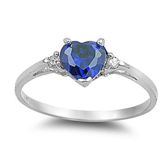 Hochzeit - 0.50CT Deep Blue Sapphire Diamond CZ Heart Shape Round 925 Sterling Silver Promise Ring Love Valentines Gift Wedding Engagement Ring