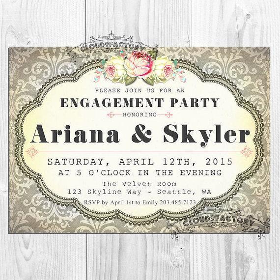 زفاف - Gray Damask Engagement Party Invitation - Elegant Vintage Shabby Chic - Printable Digital File Diy  No393