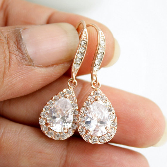 Mariage - Rose Gold Bridal Earrings Pink Gold Wedding Jewelry Rose Gold Wedding Earrings Bridesmaid Earrings Rose Gold Drop Earrings