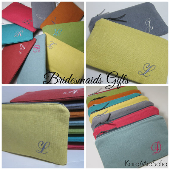 Hochzeit - Personalized Bridesmaid Gift, Monogrammed Linen Clutch/Make Up Bag, Wedding, Bridal Clutches, Choose Your Colors