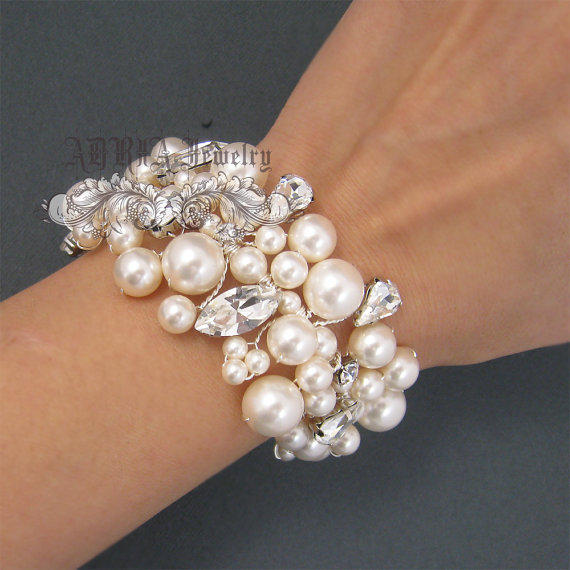 Bridal Bracelet Pearl Wedding Vintage Style Chunky Cuff Ivory White Pearls Rhinestone Statement Jewelry