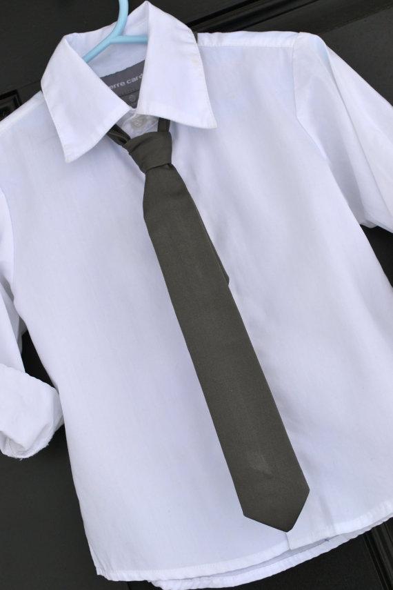 Mariage - Little Boy Tie - Classic Solid Dark Charcoal Grey Adjustable Baby / Toddler / Little Boy / Child Skinny Tie Necktie