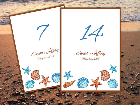 download seashell beach wedding table number microsoft word template