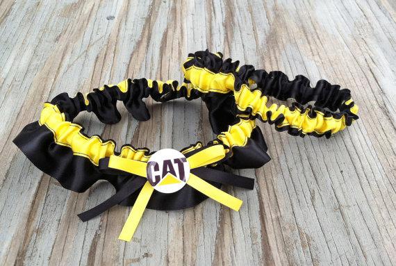cat caterpillar bridal satin wedding garter black amp yellow
