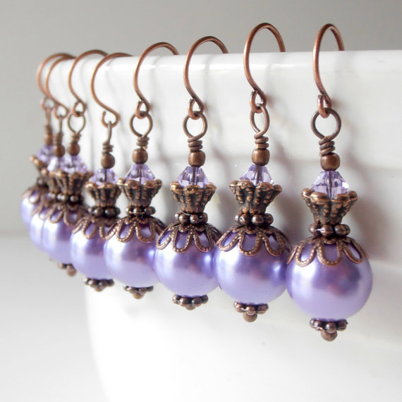 Hochzeit - Purple Pearl Earrings Wisteria Bridesmaid Jewelry Antiqued Style Dangles Lavender Wedding Jewelry Sets Bridesmaid Earrings Beaded Jewelry