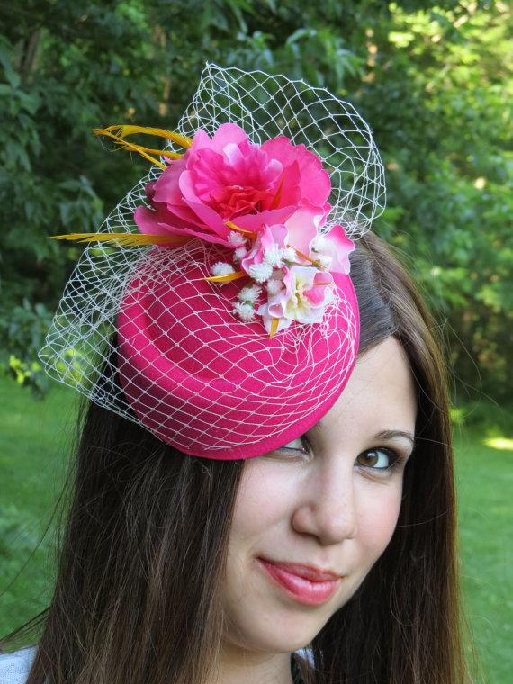 Свадьба - Hot pink fascinator veil flower wedding hat LOVELY SARAH