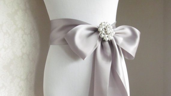 Mariage - Satin Ribbon Sash / Ribbon Sash / Satin Bridal Sash /  Bridesmaid Sash With Brooch